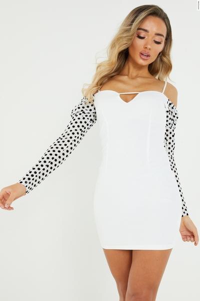 White Polka Dot Bardot Mini Dress
